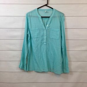Old Navy Teal Sheer Layer Cover Up Blouse